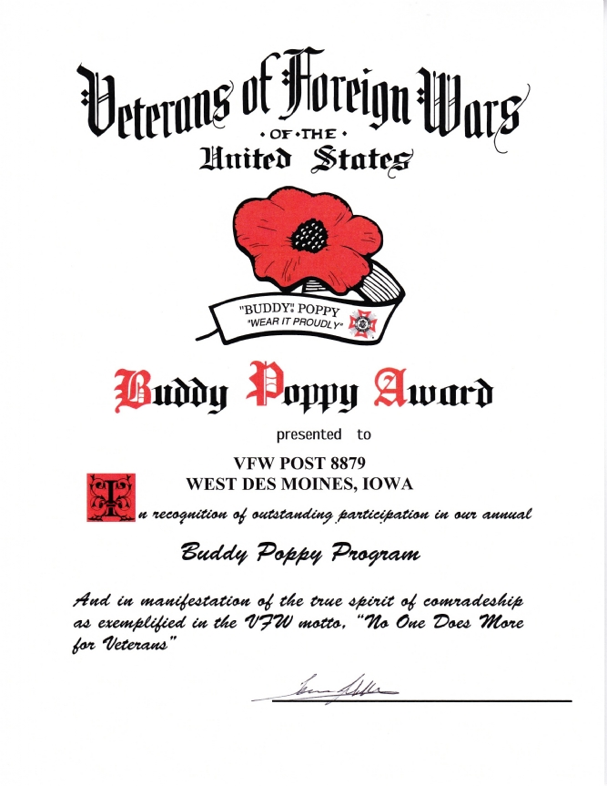 Post 8879 Outstanding Participation in the Buddy Poppy Program.