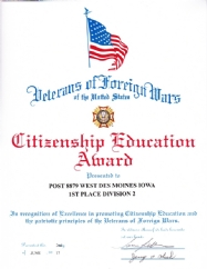 Post 8879 is awarded 1st Place for Citizenship Education.